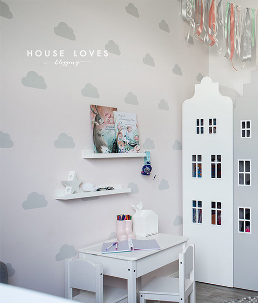 clouds-szablon malarski chmurki houseloves na ścianę dla dziewczynki dziewczęcy pokój