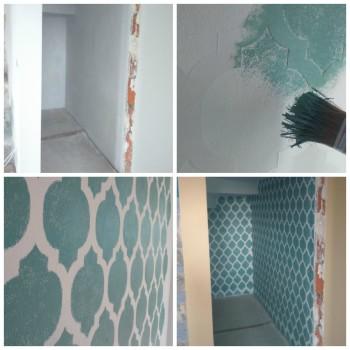 wzór marokański przed i po malowaniu szablonem malarskim