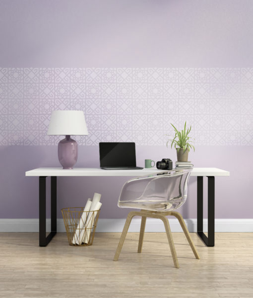 Elegant light purple home office interior with armchair