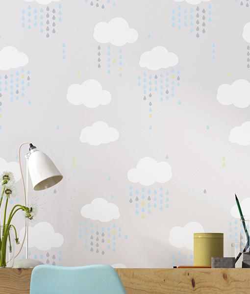 szablon-malarski-na-ścianę-chmurka-chm,urki-kropla-kropelki-deszcz001