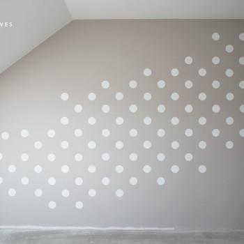 kropki na ścianie szablon malarski