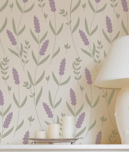 Szablon malarski kwiat, lawenda do malowania na ścianę