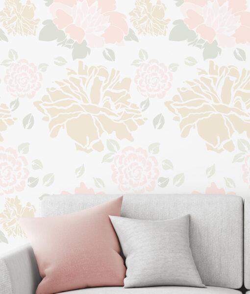 Szablon malarski kwiat, peonie do malowania na ścianę